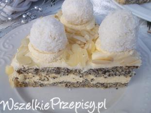 Tort makowo - migdałowy z kulkami kokosowymi