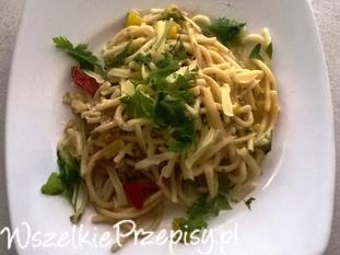 Spaghetti z dynią i boczkiem