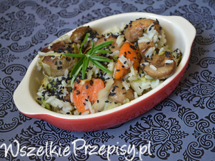 Jaśminowy ryż z klopsikami i warzywami