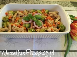 schab z ziołami oraz warzywami