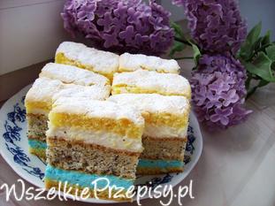 Ciasto z masą pomarańczową i niebieską