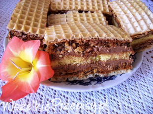 Ciasto z waflem i orzechami