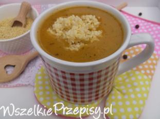 Warzywna zupa krem z kaszą jaglaną.