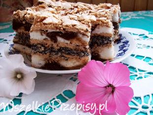 Łaciate ciasto kokosowo- makowe