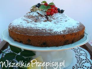 ,, Wulkan '' ciasto czekoladowo-owocowe.