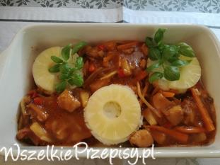 Kurczak z warzywami sosie słodko kwaśnym
