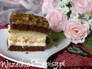 Ciasto z masą chałwową i budyniem o smaku agrestu