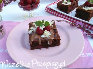 Ciasto brownie z malinami