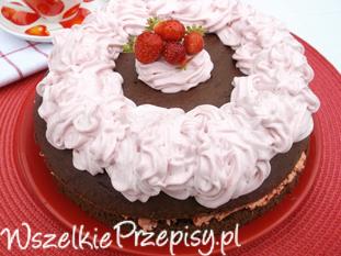 Ciasto czekoladowe z truskawkami.
