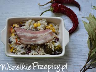 zapiekanka z ryżem i warzywami