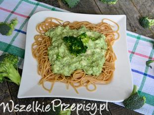 Spaghetti z brokułami, kurczakiem i bazylią