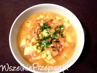 Zupa paprykowa z kukurydzą