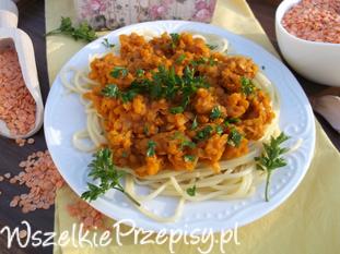 Spaghetti z soczewicą.
